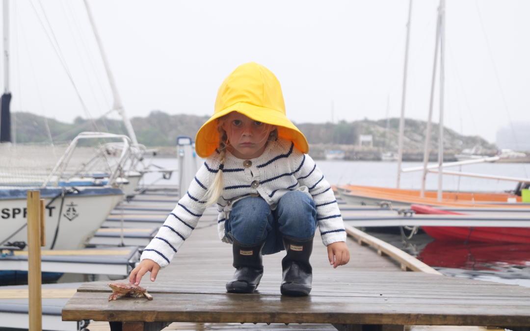 Strandkrabbe jakke med tynne striper i kontrastfarge